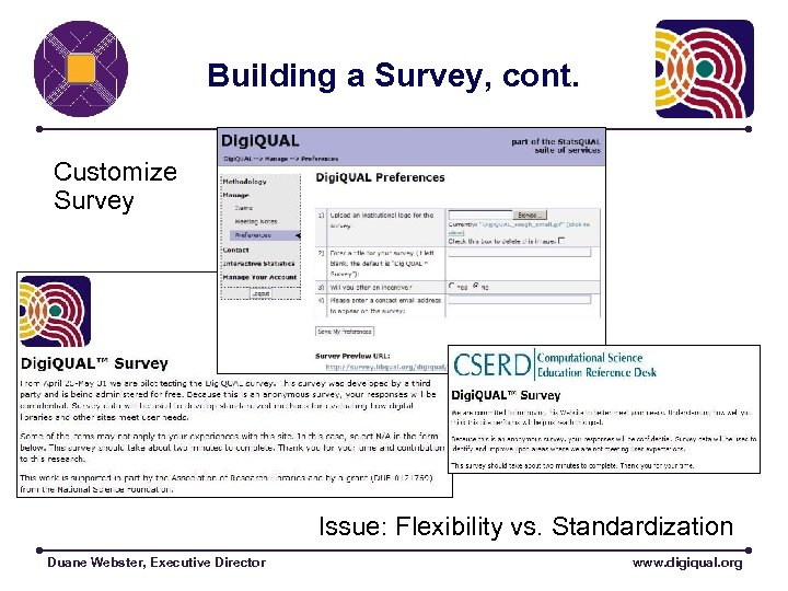 Building a Survey, cont. Customize Survey Issue: Flexibility vs. Standardization Duane Webster, Executive Director