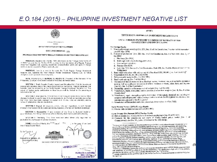 E. O. 184 (2015) – PHILIPPINE INVESTMENT NEGATIVE LIST