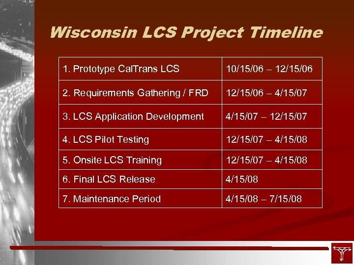 Wisconsin LCS Project Timeline 1. Prototype Cal. Trans LCS 10/15/06 – 12/15/06 2. Requirements