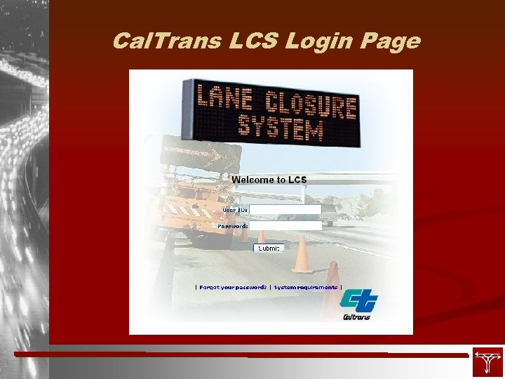 Cal. Trans LCS Login Page