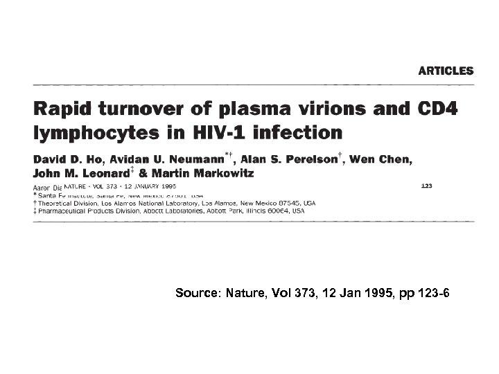 Source: Nature, Vol 373, 12 Jan 1995, pp 123 -6