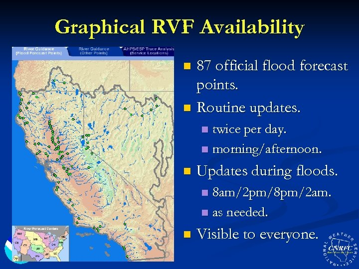 Graphical RVF Availability 87 official flood forecast points. n Routine updates. n twice per
