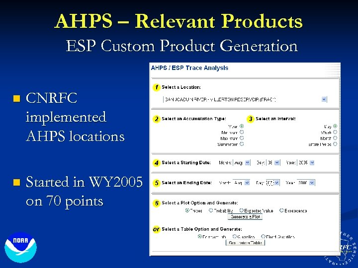 AHPS – Relevant Products ESP Custom Product Generation n CNRFC implemented AHPS locations n