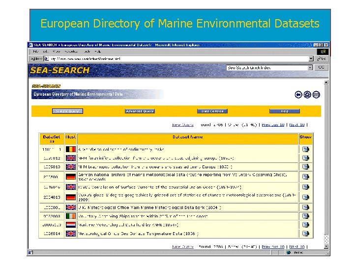 European Directory of Marine Environmental Datasets