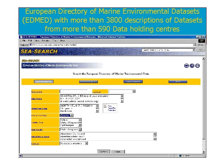 European Directory of Marine Environmental Datasets (EDMED) with more than 3800 descriptions of Datasets