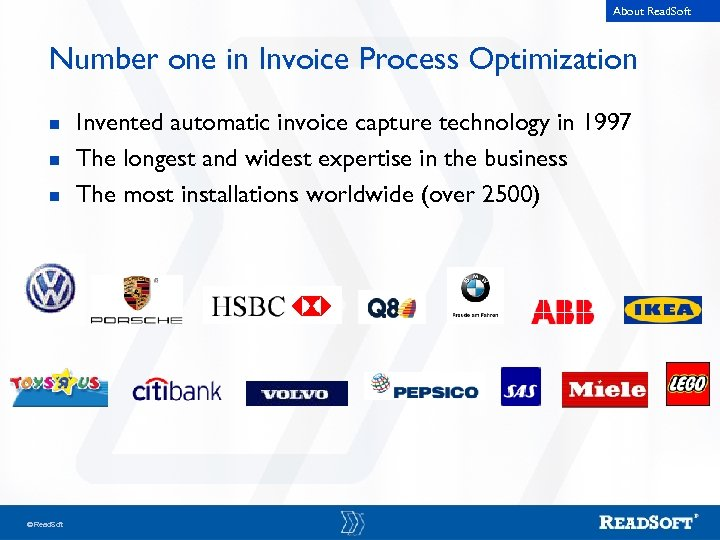 About Read. Soft Number one in Invoice Process Optimization n Read. Soft Invented automatic