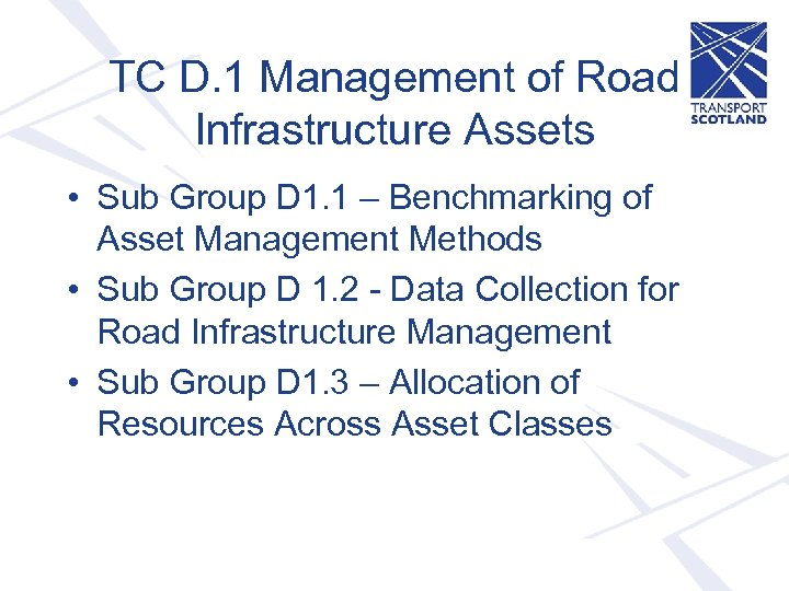 TC D. 1 Management of Road Infrastructure Assets • Sub Group D 1. 1