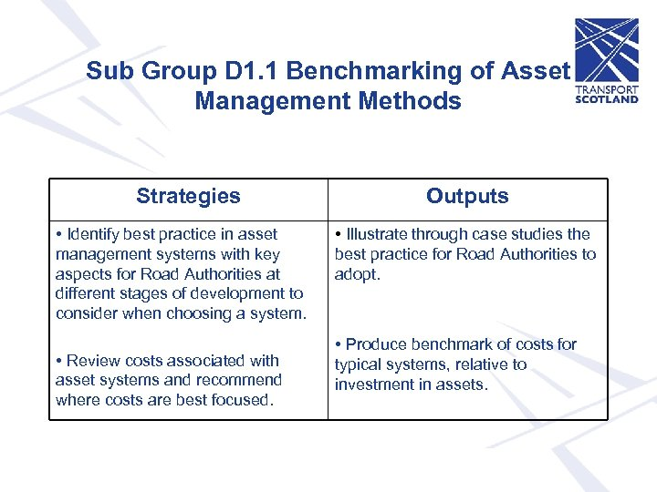 Sub Group D 1. 1 Benchmarking of Asset Management Methods Strategies • Identify best