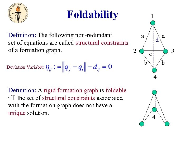 Foldability 1 Definition: The following non-redundant a a d set of equations are called