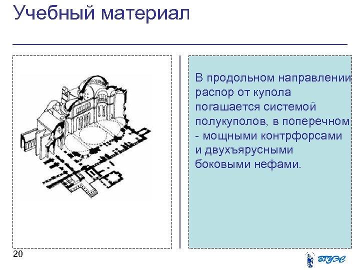 Учебный материал В продольном направлении распор от купола погашается системой полукуполов, в поперечном -