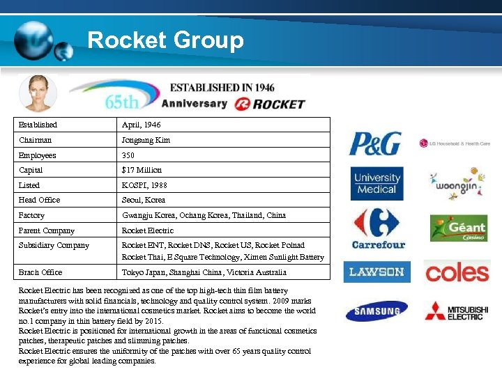 Rocket Group Established April, 1946 Chairman Jongsung Kim Employees 350 Capital $17 Million Listed