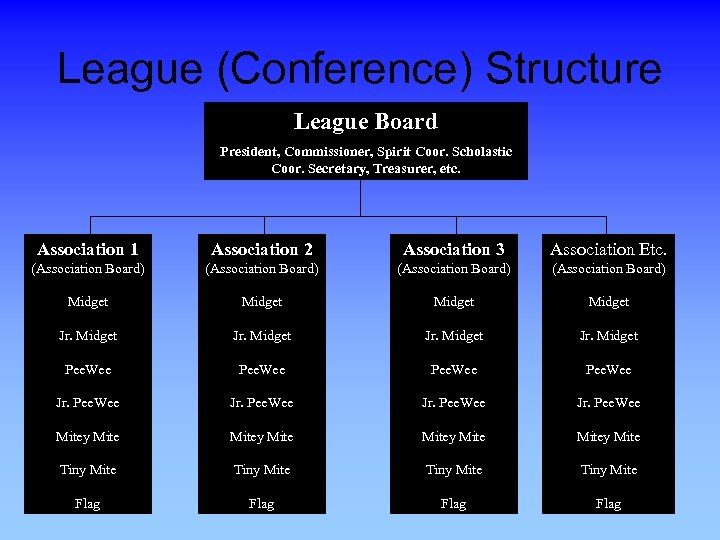 League (Conference) Structure League Board President, Commissioner, Spirit Coor. Scholastic Coor. Secretary, Treasurer, etc.