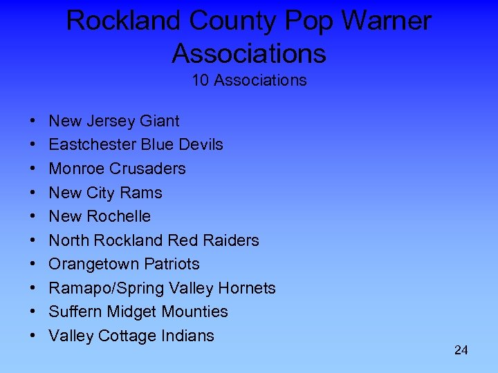 Rockland County Pop Warner Associations 10 Associations • • • New Jersey Giant Eastchester