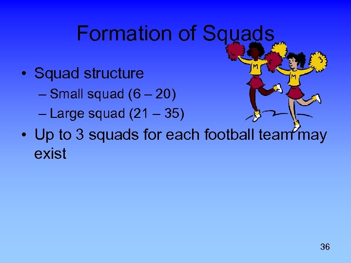 Formation of Squads • Squad structure – Small squad (6 – 20) – Large
