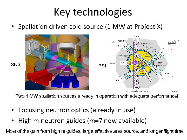 Key technologies • Spallation driven cold source (1 MW at Project X) SNS PSI