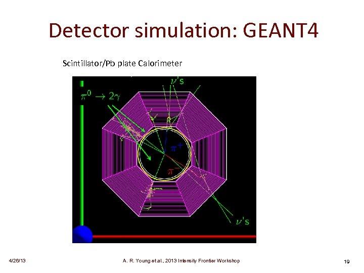 Detector simulation: GEANT 4 Scintillator/Pb plate Calorimeter 4/26/13 A. R. Young et al. ,