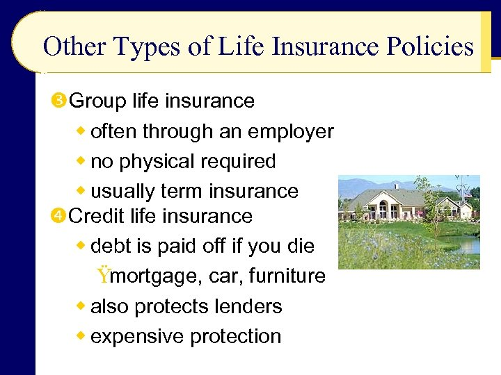 Other Types of Life Insurance Policies Group life insurance w often through an employer