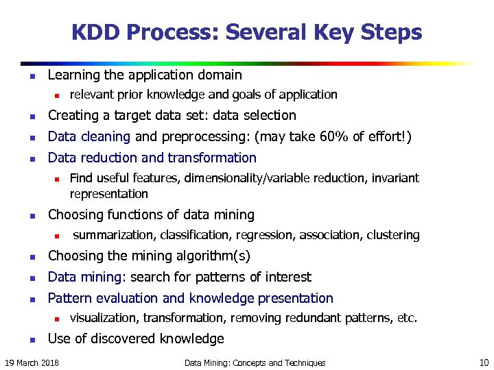KDD Process: Several Key Steps n Learning the application domain n relevant prior knowledge