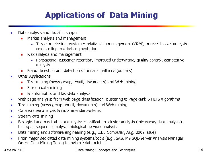 Applications of Data Mining n n n n n Data analysis and decision support
