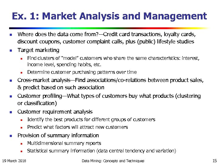 Ex. 1: Market Analysis and Management n n Where does the data come from?