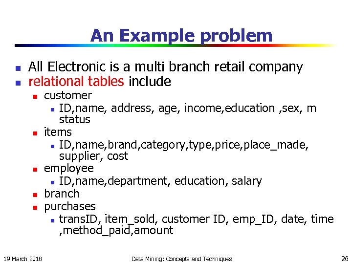 An Example problem n n All Electronic is a multi branch retail company relational