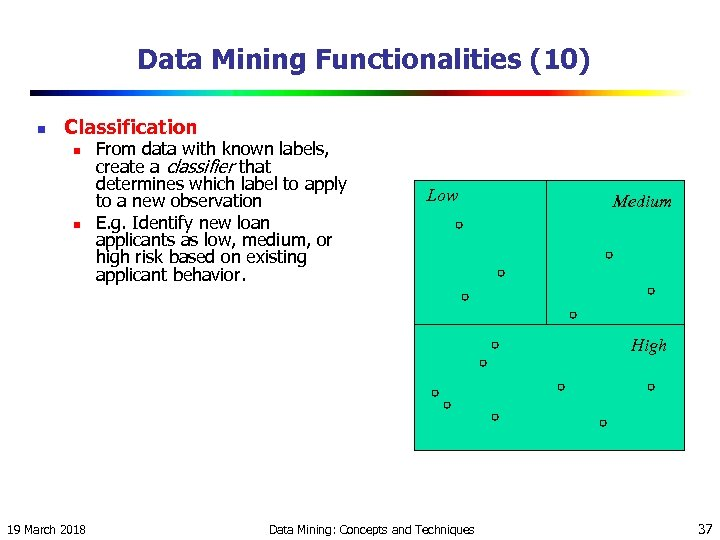 Data Mining Functionalities (10) n Classification n n From data with known labels, create