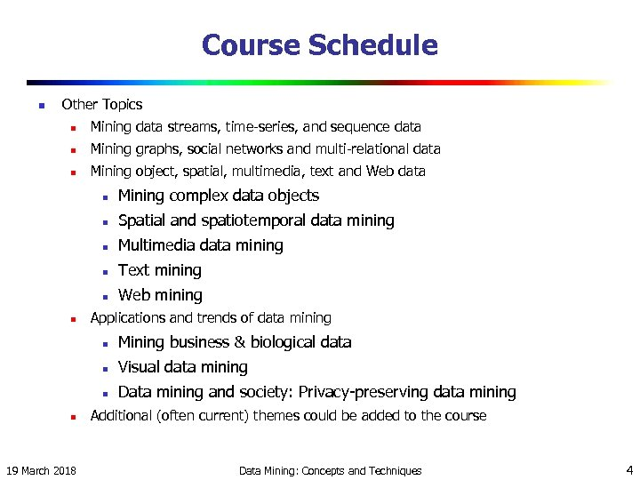 Course Schedule n Other Topics n Mining data streams, time-series, and sequence data n