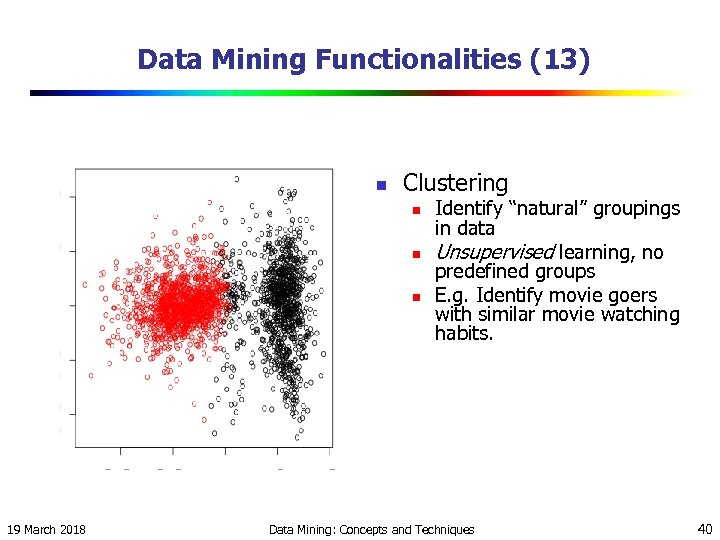 "Data Mining Functionalities (13) n Clustering n n n 19 March 2018 Identify ""natural"""