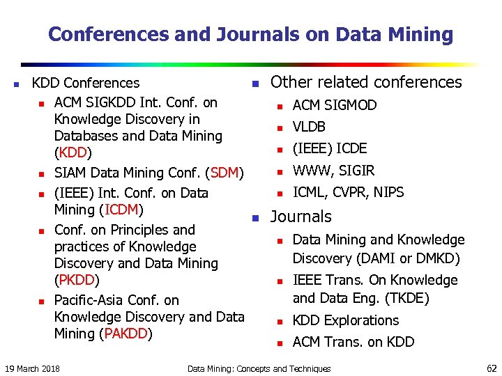 Conferences and Journals on Data Mining n KDD Conferences n ACM SIGKDD Int. Conf.