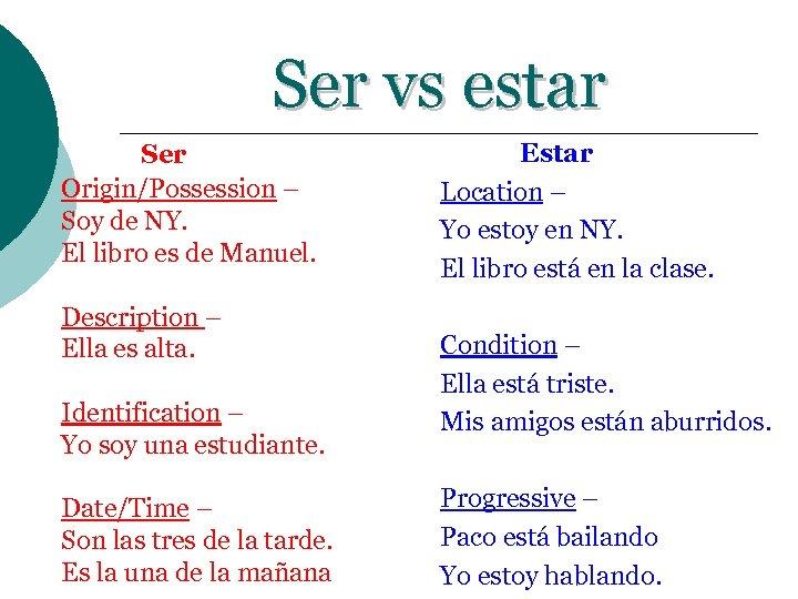 Ser vs estar Ser Origin/Possession – Soy de NY. El libro es de Manuel.
