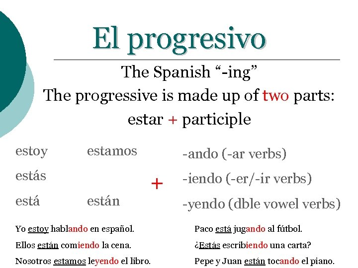 """El progresivo The Spanish """"-ing"""" The progressive is made up of two parts: estar"""
