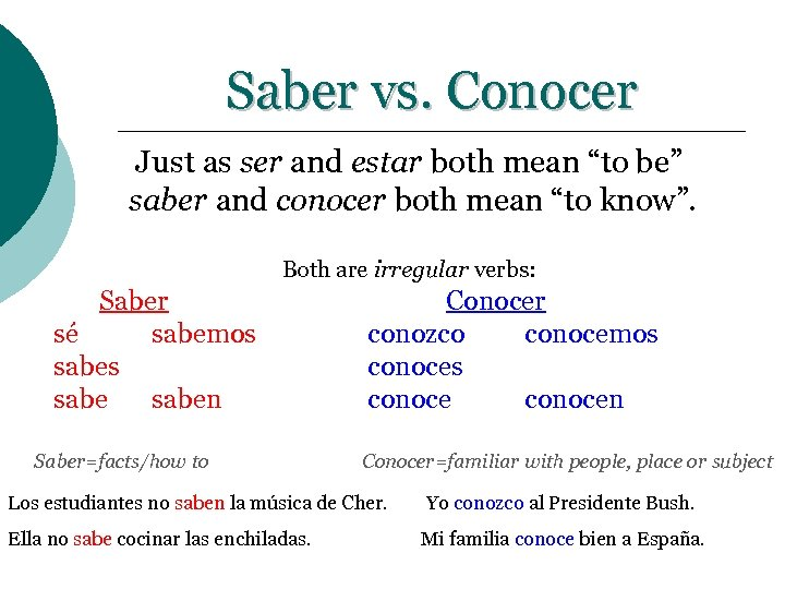 """Saber vs. Conocer Just as ser and estar both mean """"to be"""" saber and"""