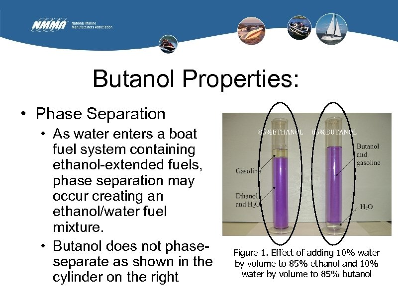 Butanol Properties: • Phase Separation • As water enters a boat fuel system containing