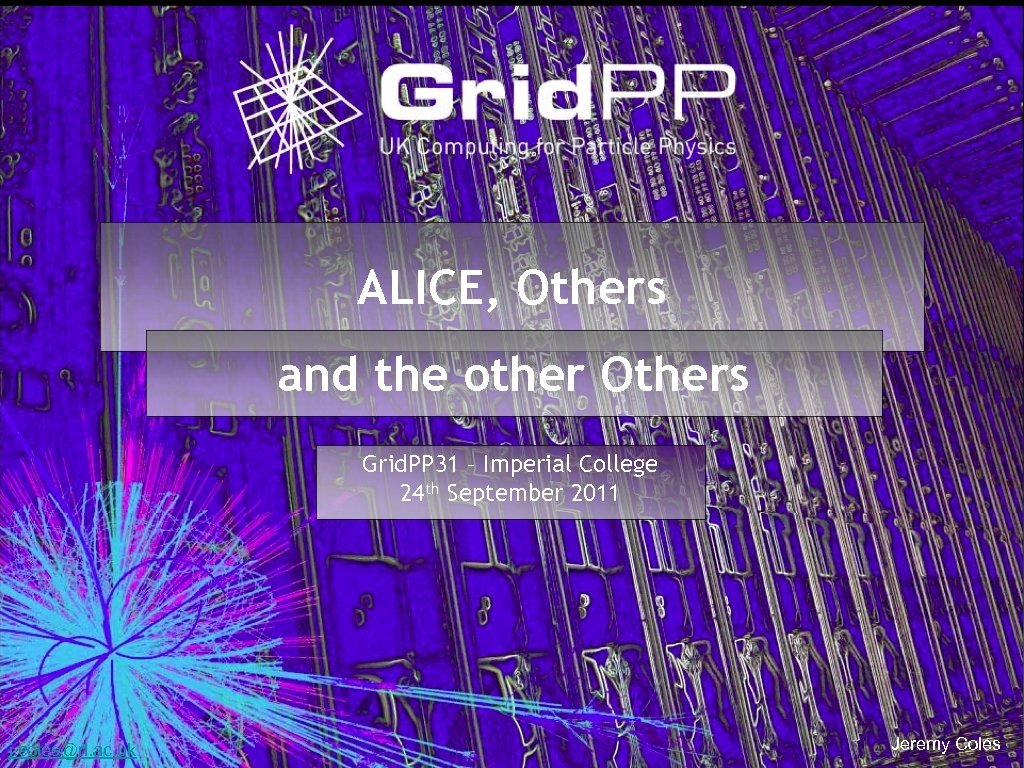 ALICE, Others and the other Others Grid. PP 31 – Imperial College 24 th