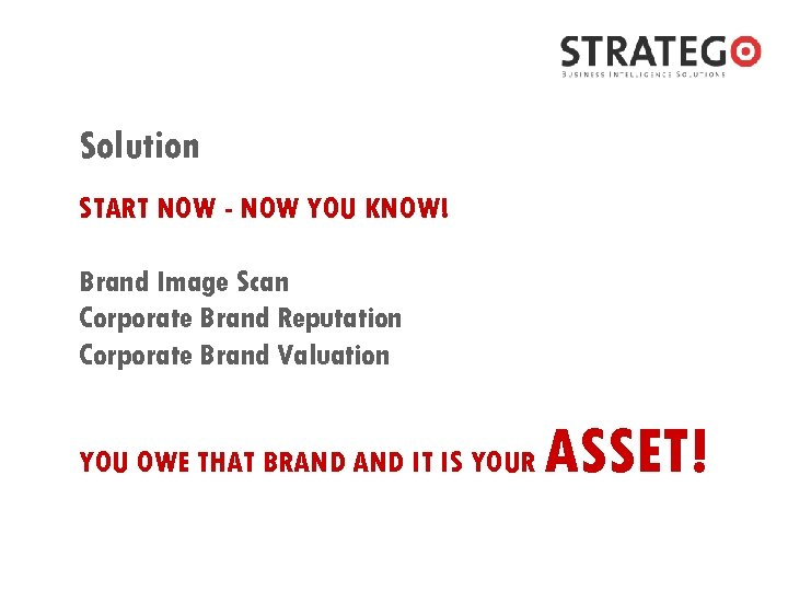 Solution START NOW - NOW YOU KNOW! Brand Image Scan Corporate Brand Reputation Corporate