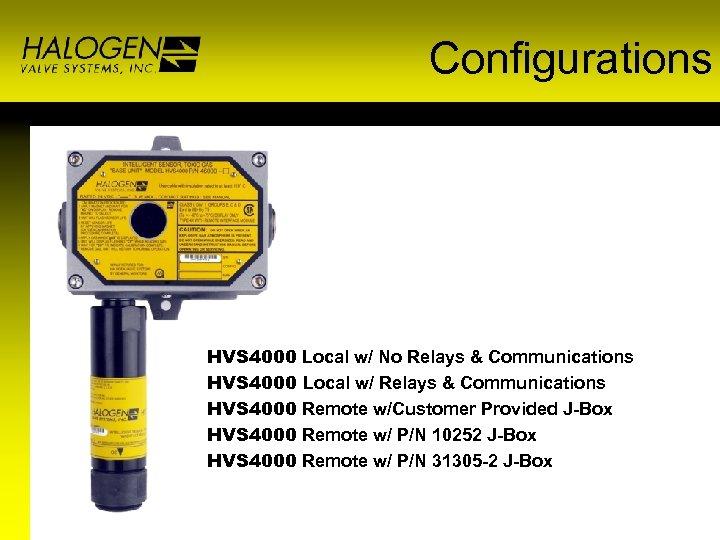 Configurations HVS 4000 Local w/ No Relays & Communications HVS 4000 Local w/ Relays