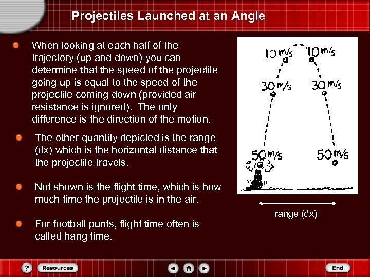 Projectiles Launched at an Angle When looking at each half of the trajectory (up