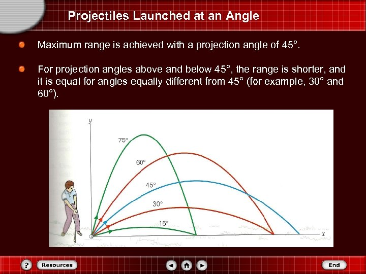 Projectiles Launched at an Angle Maximum range is achieved with a projection angle of