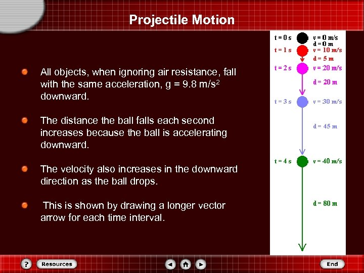 Projectile Motion All objects, when ignoring air resistance, fall with the same acceleration, g