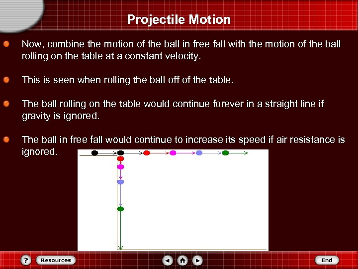 Projectile Motion Now, combine the motion of the ball in free fall with the