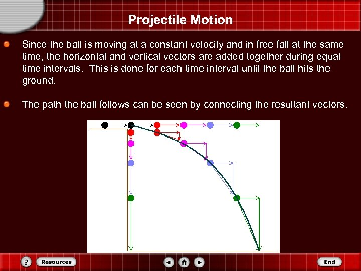 Projectile Motion Since the ball is moving at a constant velocity and in free
