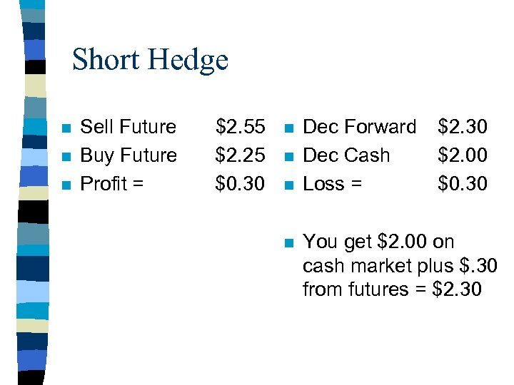 Short Hedge n n n Sell Future Buy Future Profit = $2. 55 $2.