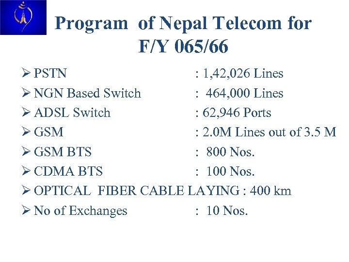 Program of Nepal Telecom for F/Y 065/66 Ø PSTN : 1, 42, 026 Lines