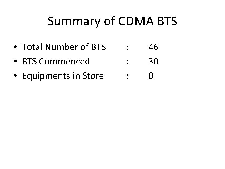 Summary of CDMA BTS • Total Number of BTS • BTS Commenced • Equipments