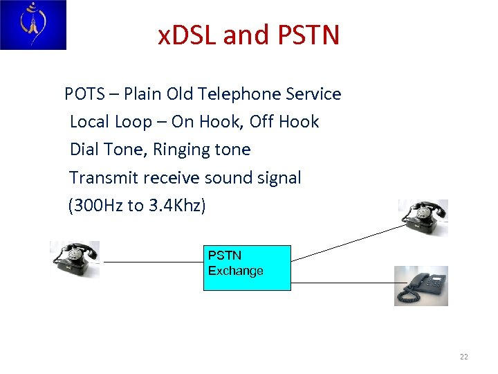 x. DSL and PSTN POTS – Plain Old Telephone Service Local Loop – On