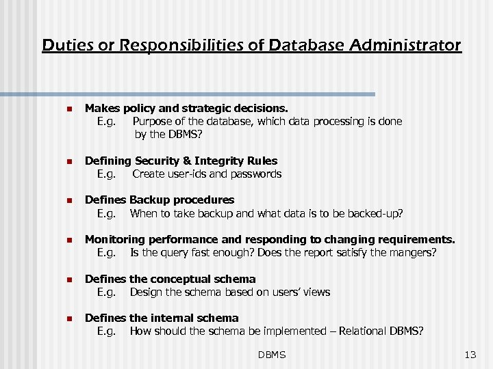 Duties or Responsibilities of Database Administrator Makes policy and strategic decisions. E. g. Purpose