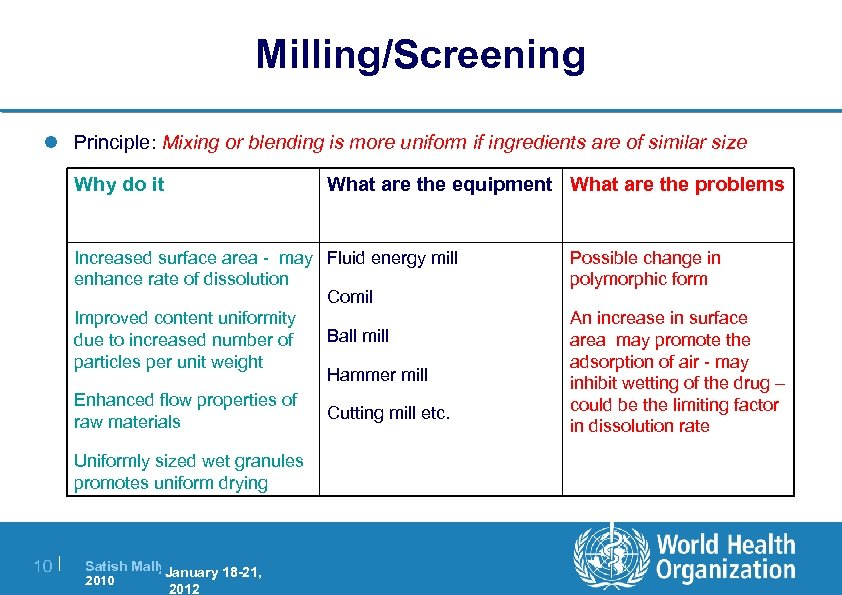 Milling/Screening l Principle: Mixing or blending is more uniform if ingredients are of similar