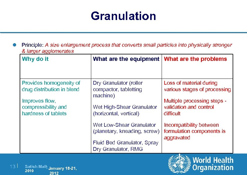 Granulation l Principle: A size enlargement process that converts small particles into physically stronger