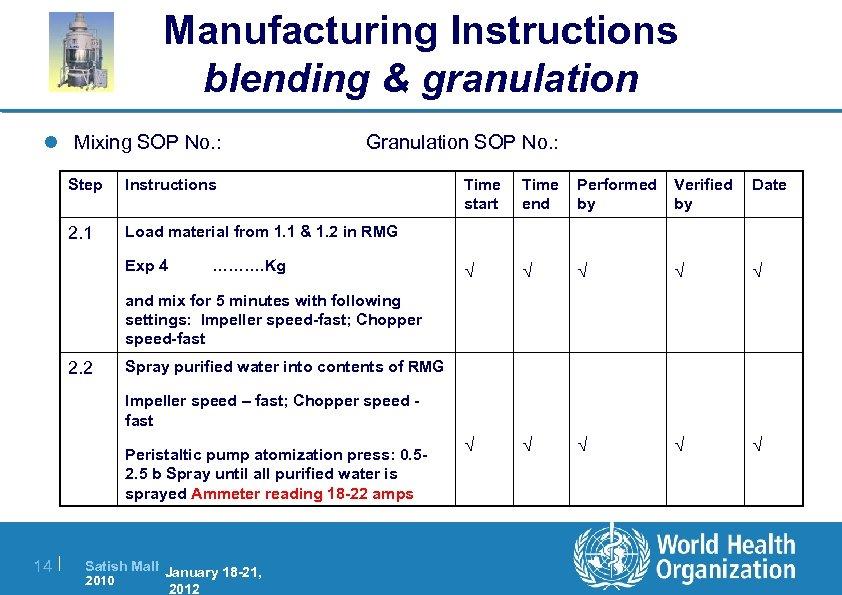 Manufacturing Instructions blending & granulation l Mixing SOP No. : Granulation SOP No. :