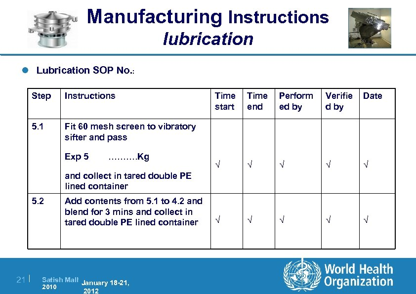 Manufacturing Instructions lubrication l Lubrication SOP No. : Step Instructions 5. 1 Fit 60